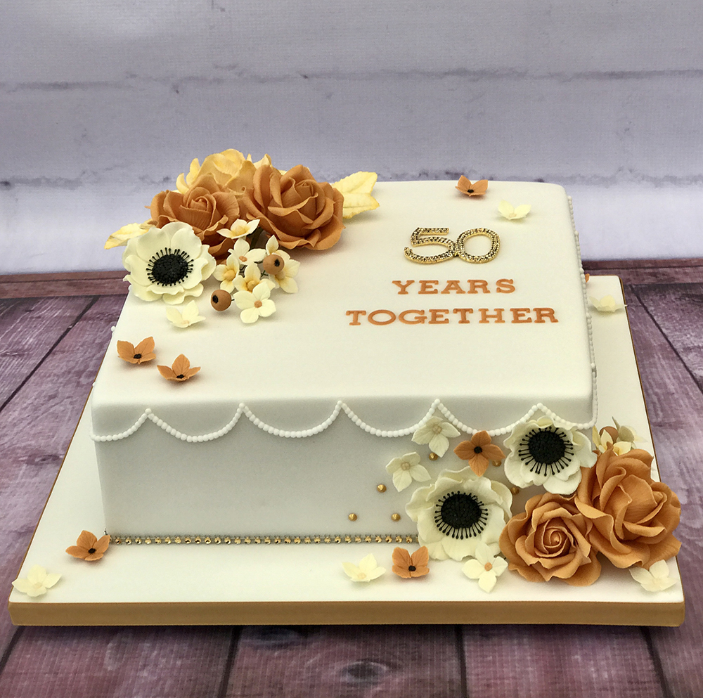 Gold Cake Created Using Beau Products Flowerpaste