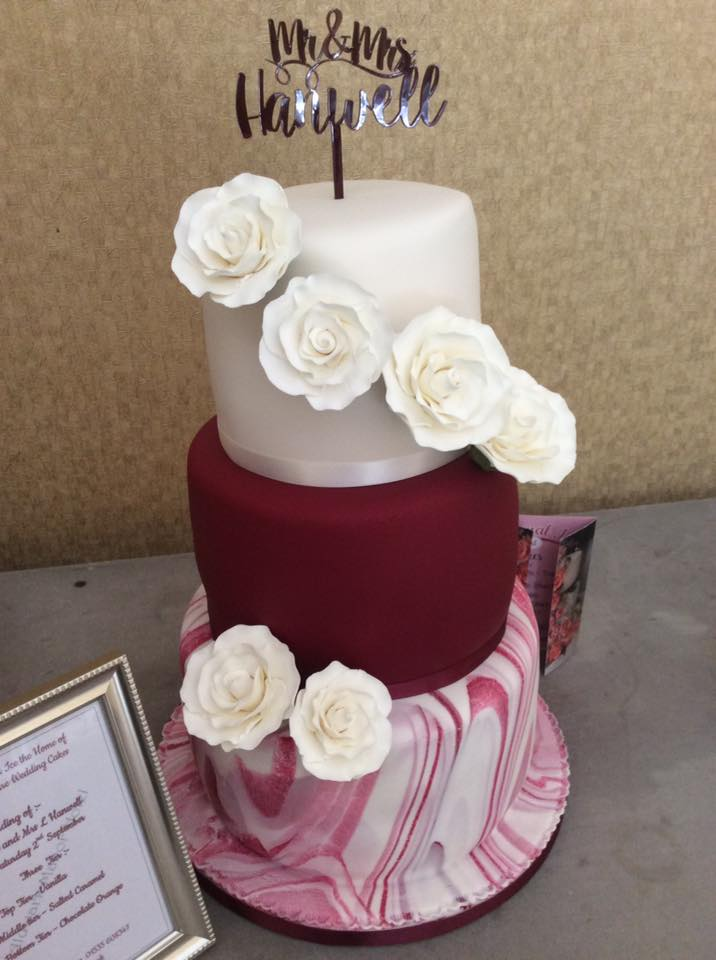 3 Tier Wedding Cake Using Beau Products Burgundy Sugarpaste
