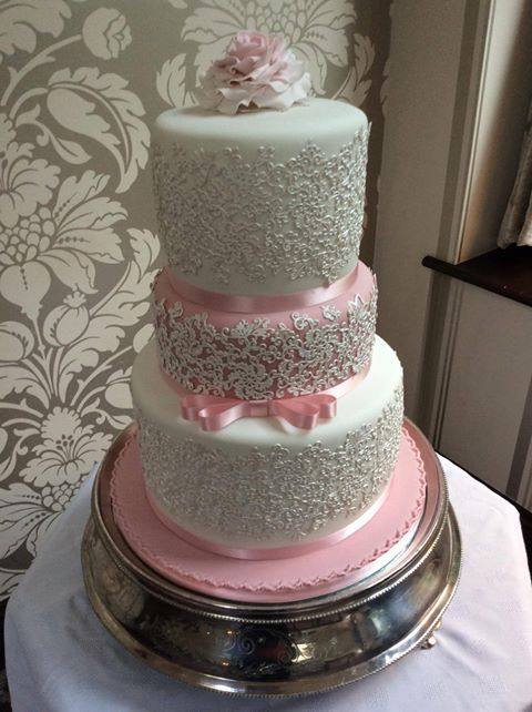 Blush Pink Sugarpaste by Beau products was used on this 3 tier wedding cake.